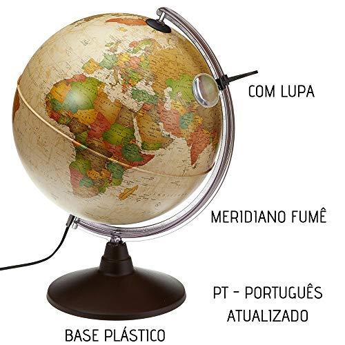 Globo Terrestre Iluminado Abajur Luminária Marcopolo Antigo