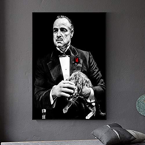 Nordische und Katze Leinwand Malerei Blume Wandkunst Leinwand Malerei Poster Kunst Wohnzimmer Hauptdekoration,Rahmenlose Malerei,60x83cm