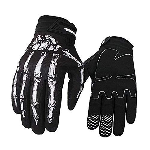 Brosaur Mountain Bike Riding Handschuhe Handschuhe Motorrad Handschuhe Full Finger Touch Screen Handschuhe für Männer und Frauen Übung Skelett Handschuhe (Weiß, M)