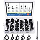 Glarks 56-Pieces Auto Clips Car Wire Harness Routing Clip Assortment Kit for Honda GM Mazda, 6 Size from 3/8' to 3/4' Loom Clips