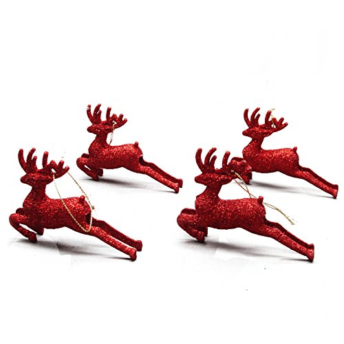 4 Small Red Festive Christmas Sparkling Glitter Reindeer Decorations