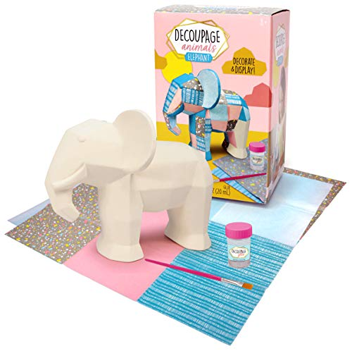 Bright Stripes Decoupage Animals Elephant Craft Kit - Complete Kids Craft Kits with Decoupage Paper Glue and Brush - Elephant DIY Craft Kit for Girls and Boys
