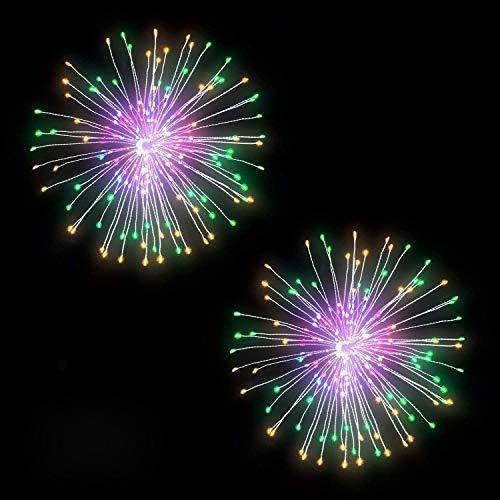 BizoeRade 2 Stück Feuerwerk Licht, 200 LED 8 Modi Mehrfarbig Hängend Feuerwerk Lichterkette,IP65 Wasserdicht Starburst Lichter mit Fernbedienung für Garten Terrasse Hochzeit Party Weihnachten