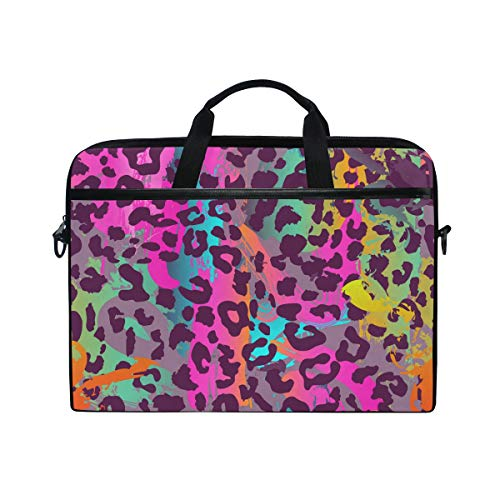 WowPrint Laptop Sleeve, Colorful Animal Tiger Leopard Print Laptop Case Shoulder Strap with Handle Portable Notebook Computer Bag for 13 13.3 14 15 inch