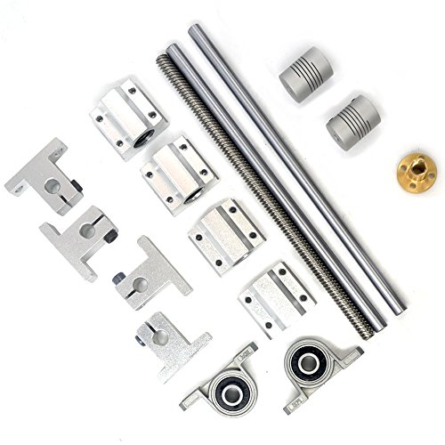 Glvanc, 3D Printer Guide Rail Sets T8 Horizontal 8mm Lead Screw + L500mm Shaft Optical Axis + SCS8UU Linear Bearing + Pillow Block Bearing KP08 + Shaft Coupling + SK8 Linear Rod Rail Support 16Pcs