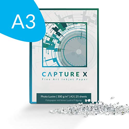 CAPTURE X Photo Lustre, 300g/m², A3, 25 Blatt Box - elegante Prägung - ideale Kontraste - Fine Art Paper