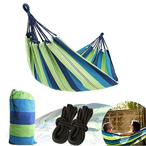 TRJGDCP Camping Hammock canvas schommelbed buiten rugzak survival reisaccessoires geschikt voor terras veranda hangstoel 260 * 150 cm (kleur: blauw)