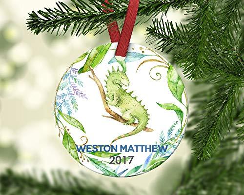 Dozili Kinder-Weihnachtsdekoration Junge Iguana Eidechse Weihnachten Ornament Personalisierte Weihnachten Ornament Baby 's First Christmas