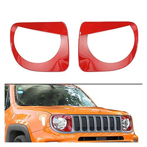 NERR YULUBAIHUO Cubierta de la lámpara de la Cabeza Delantera del Estilo de los Ojos Tim Bezel Car Red ABS Ajuste para Jeep Renegade 2019 2020