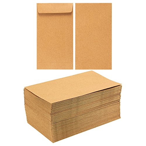 Juvale Kraft Money Envelopes for Cash, Coins, Budgeting, Gifts (3.5 x 6.5 in, 100 Pack)