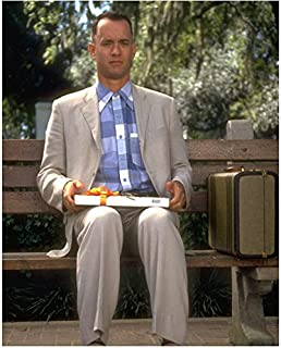 Tom Hanks 8 inch x 10 inch Photograph Cast Away Saving Private Ryan Forrest Gump Sitting on Bench w/Suitcase Pose 2 kn