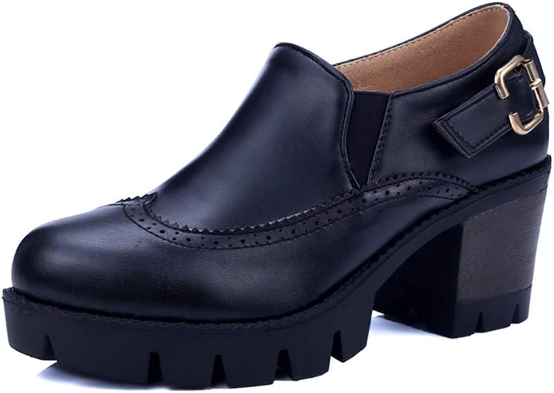 GIY Women's Chunky Platform Oxford Pump Round Toe Slip On Buckle High Heel Vintage Dress Oxfords shoes