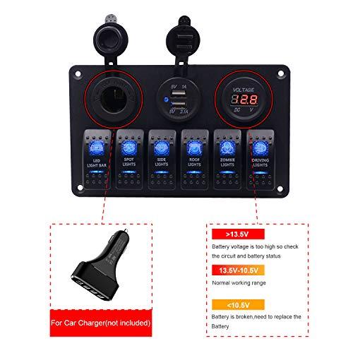 BlueFire 6 Gang Rocker Switch Panel for RV Marine Car Vehicles Truck Boat Fuse Panels Waterproof Digital Voltmeter Display Dual USB Charger Port DC 12V Socket 12/24V Breaker Switches
