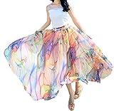 Afibi Women Full/Ankle Length Blending Maxi Chiffon Long Skirt Beach Skirt (Large, Design N(7))