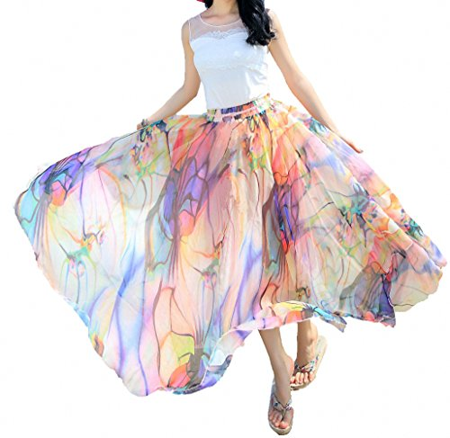 Afibi Women Full/Ankle Length Blending Maxi Chiffon Long Skirt Beach Skirt (Large, Design N(7))