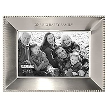 Malden International Designs Simply Stated Shiny Pewter One Big Happy Family Metal Picture Frame, 4x6, Silver