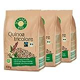 3x CLASEN BIO Quinoa Tricolore - Fairtrade, vegan und glutenfrei, biologischer Anbau - 450 g
