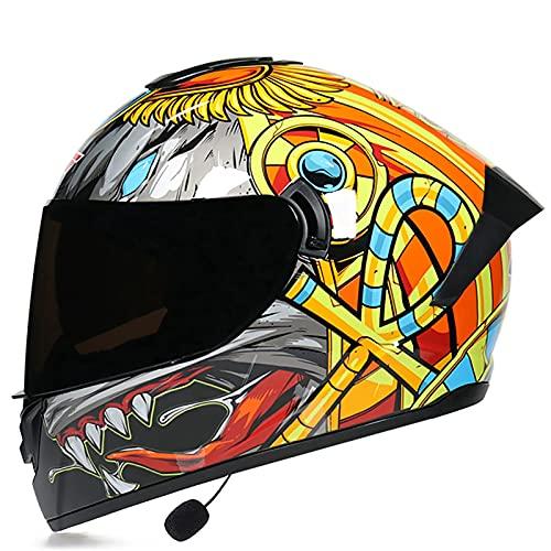 Cascos De Motocicleta, Casco De Moto Modular Bluetooth Integrado con Doble Visera Anti Vaho Transpirable Cómoda Certificado DOT/ECE para Adultos Hombres Mujeres B,XL=61~62CM