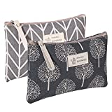 2 Pcs Canvas Cosmetic Bag, Multi-Function Travel Makeup Bag Cosmetic Pouch with Zipper Travel Toiletry Bag for Women and Girls