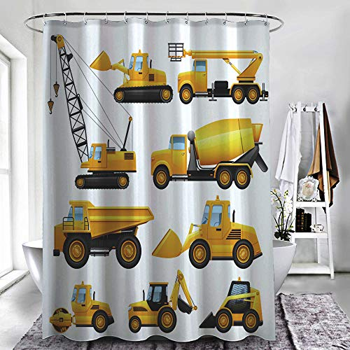"""ZXAWT Brand Waterproof Bathroom Shower Curtains Construction Equipment and Machinery with Trucks Crane and Bulldozer Flat Icons Set Bright Yellow(78"""" W x 72"""" H)"""