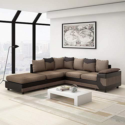 EYDSHIKL Tela de 4 plazas sofá en Forma de L sofá de la Esquina de la Tela y tapizado de Cuero sofá de Banco, Izquierda y Derecha reclinable con reposapiés,A