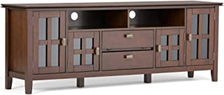 Simpli Home AXCRART72-RUS Artisan Solid Wood 72 inch Wide Contemporary TV Media Stand in Russet Brown For TVs up to 80 inches