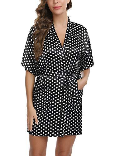 Doaraha Batas Kimono Mujer Satén Albornoces Pijama Lenceria Vestido Ligero Estampado de Lunares Ropa de Dormir Oblicuo Cuello en V Suave (Negro, S)