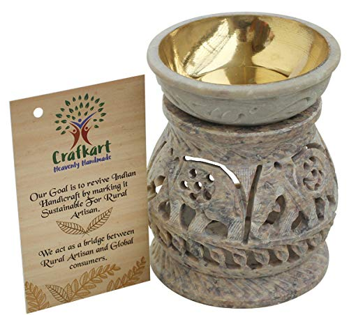 Handmade Elephant Essential Oil Burner | Decorative Tea Light Holder | 4 Inch Soapstone Wax Tart Candle Warmer Aromatherapy Diffuser for Meditation, Porch, Garden, Spa, Yoga, Living Room Decor