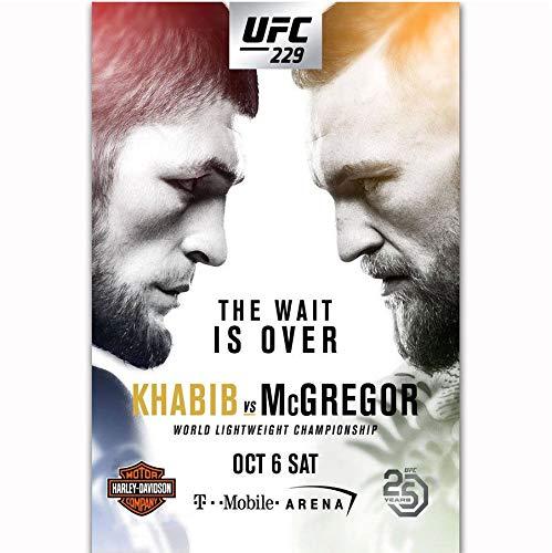 DPFRY Leinwandbilder Wandkunst Bild Khabib Nurmagomedov Vs Conor McGregor 2018 UFC 229 Event Poster Print 40X60Cm Ohne Rahmen