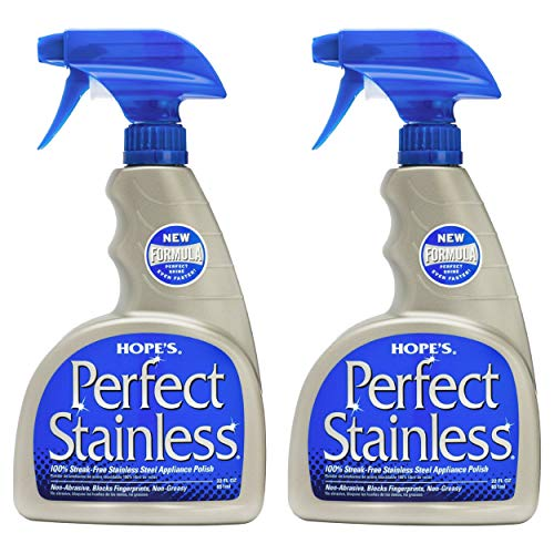 HOPE'S Perfect Stainless Steel Cleaner 22-Ounce, Streak-Free Self-Polishing Formula, Blocks Fingerprints, Pack of 2, 2 Pack