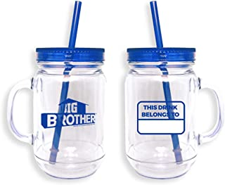 Big Brother Mason Jar Double Walled Tumbler, Plastic, 20 oz. - Official Drinkware As Seen On CBS (Blue)
