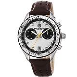 Bruno Magli Marco 1081 - Reloj de cuarzo suizo con esfera blanca y correa de cuero italiano para hombre