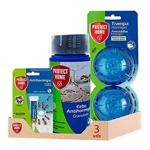 PROTECT HOME Kit antihormigas 360 Antihormigas granulado + Trampa antihormigas + Cebo Gel antihormigas (3 Unidades)