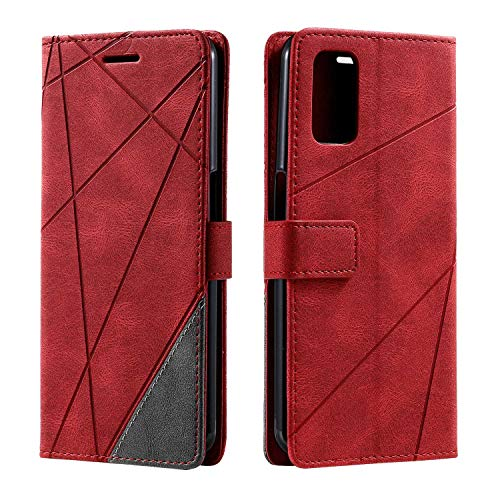 Hülle für Oppo A72 / Oppo A52 / Oppo A92, SONWO Premium Leder PU Handyhülle Flip Hülle Wallet Silikon Bumper Schutzhülle Klapphülle für Oppo A72 / Oppo A52 / Oppo A92, Rot