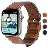 Fullmosa Correa Apple Watch Series SE 6/5/4/3/2/1, 4 Colores, Vintage Pulsera de Cuero Reemplazo de Apple Watch para Mujeres Hombres, Marrón Claro + Hebilla Plata, 42mm/44mm