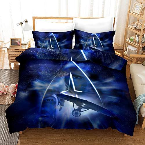 Ruiqieor Bettwäsche 155x220,Star Trek Bettbezug Bettwäsche Set -Raumfahrzeug Bettbezug und Kissenbezug, 100% Mikrofaser,3D Digital Print dreiteiliger Bettwäsche(#01)