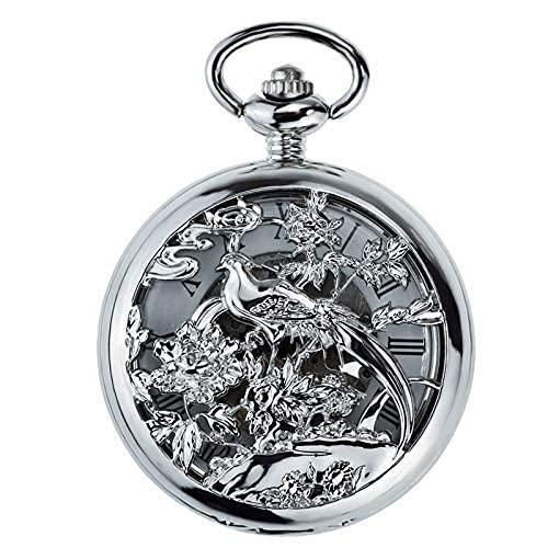 Reloj de Bolsillo, Reloj de Bolsillo Plateado Hueco de Las urracas, Reloj mecánico automático, reutilización, Antiguas Tablas de Pareja abatibles de Shanghai, Cadena de suéter Hueca Tallada.