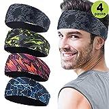 Sport Stirnbänder für Herren 4 Packu,Schweißband und Sport Stirnband Feuchtigkeitstransport Workout Schweißbänder für Laufen, Cross Training, Yoga und Fahrradhelm