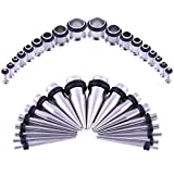 Bodystars Ear Gauges Stretching Kit - 36Pcs Stainless Steel Tapers and Plugs Set, Prefect for Heavy Metal,Punk Rock,Street or Daily Wear (Silver-Tone)