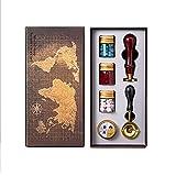SUQ Kit de Cera Vintage, Kit de Sellado Retro Caja de Regalo con Sello y Cuchara para Navidad, Bodas, Invitaciones, Tarjetas Postales, Etiquetas Para Manualidades, Manualidades
