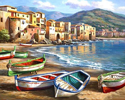 Olieverfschilderij digitaal om zelf te maken boot op Riva cadeau voor thuisdecoratie creatief modern olieverfschilderij handgeschilderd op canvas 40 x 50 cm