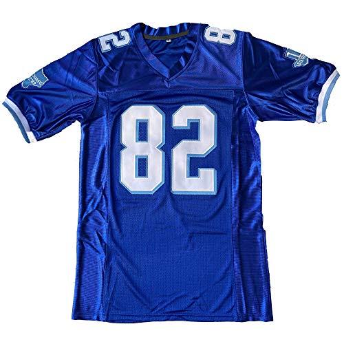 Men West Canaan Coyotes Varsity 69 Billy Bob 82 Charlie Tweeder All Stitched Movie Football Jersey Blue (82 Blue, Medium)