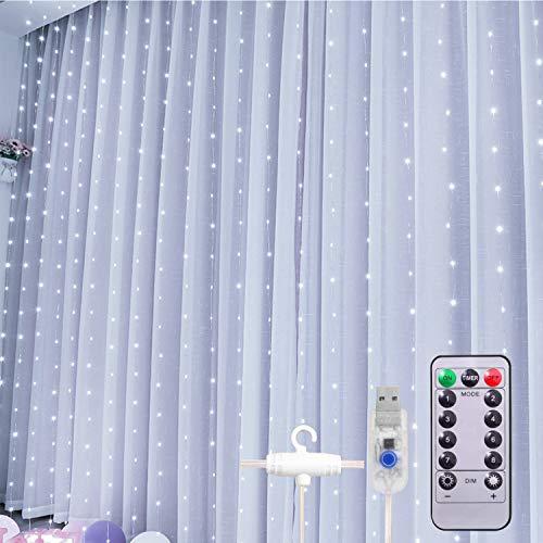 Cadena Luz de Cortina USB Cortina de Luces de Cortina con Mando a Distancia 8 Modos de Luz, Resistente al aguapara para Decoración Ventana,Navidad,Fiestas(9.8ft, Blanco)