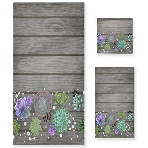 Naanle Juego de 3 toallas de baño de madera con flores suculentas para baño, algodón altamente absorbente, toalla de baño grande+toalla de mano+toalla, paquete de 3 toallas de suavidad para decoración