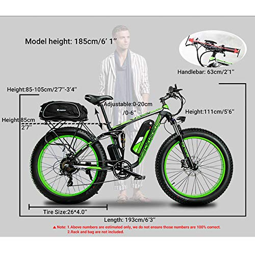 Cyrusher XF800 750W Electric Mountain Bike 26inch Fat Tire e-Bike Shimano 7 Speeds Beach Cruiser Mens Sports Mountain Bike Full Suspension,Lithium Battery Hydraulic Disc Brakes(White)