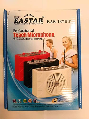Eastar Portable PA Neckband System EAS-137 Rechargeable Waistband Amplifier Digital Display with 1 Neckband Mic With Recording,Bluetooth,USB And SD Card Input with Remote