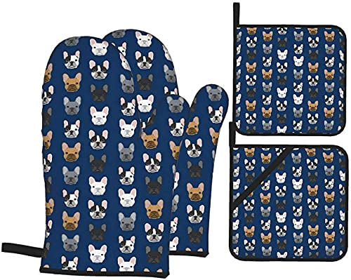French Bulldog Oven Mitts and Pot Holders Sets Heat Resistant 4 Piece Set for Kitchen Cooking Baking Décor
