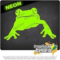 カエルの蛙の池 Frog Frog Pond 16cm x 10cm 15色 - ネオン+クロム! ステッカービニールオートバイ