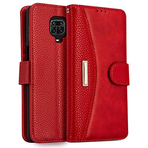Funda de piel para Xiaomi Redmi Note 9 Pro, de Lokaka, con ranuras para tarjetas, aspecto lujoso, de piel, con tapa, para Xiaomi Redmi Note 9 Pro, color rojo