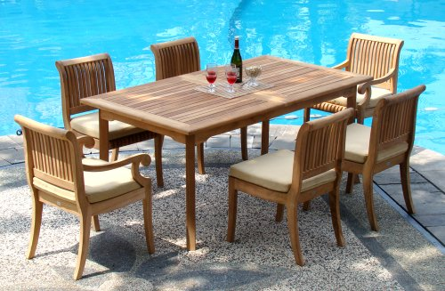 New 7 Pc Luxurious Grade-A Teak Dining Set - 94' Double Extension Rectangle Table & 6 Giva Chairs (4 Armless & 2 Arm / Captain)